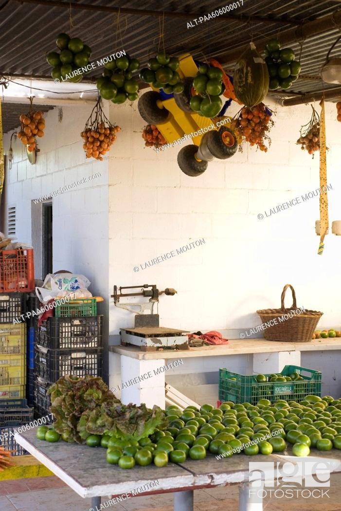 Stock Photo: Fresh produce in market.