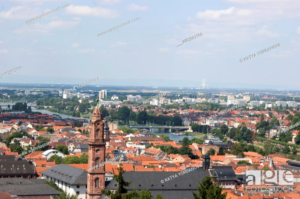 Stock Photo: Overlook of the rooftops of the city of Heidelberg and the River Neckar from the ruins of Heidelberg Castle, Baden-Wurttemberg, Germany.