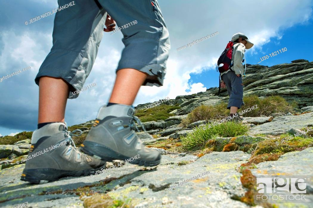 Stock Photo: Hikers walking to Torozo peak in Sierra de Gredos  Ávila province  Castilla y León  Spain.