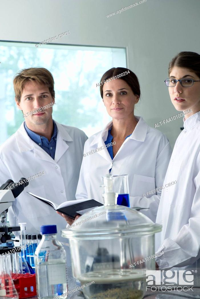 Stock Photo: Scientists working together in laboratory.