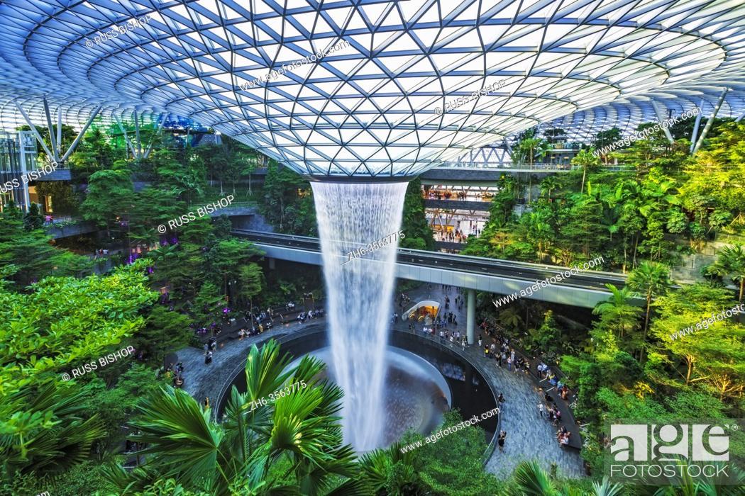 Stock Photo: Jewel indoor waterfall at Changi Airport, Singapore, Republic of Singapore.