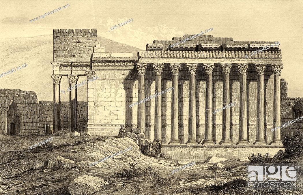 Stock Photo: Temple of Jupiter in Baalbek, UNESCO World Heritage Site, Lebanon, Middle East. Old engraving by Lemaitre published in L'Univers Syria, in 1841.