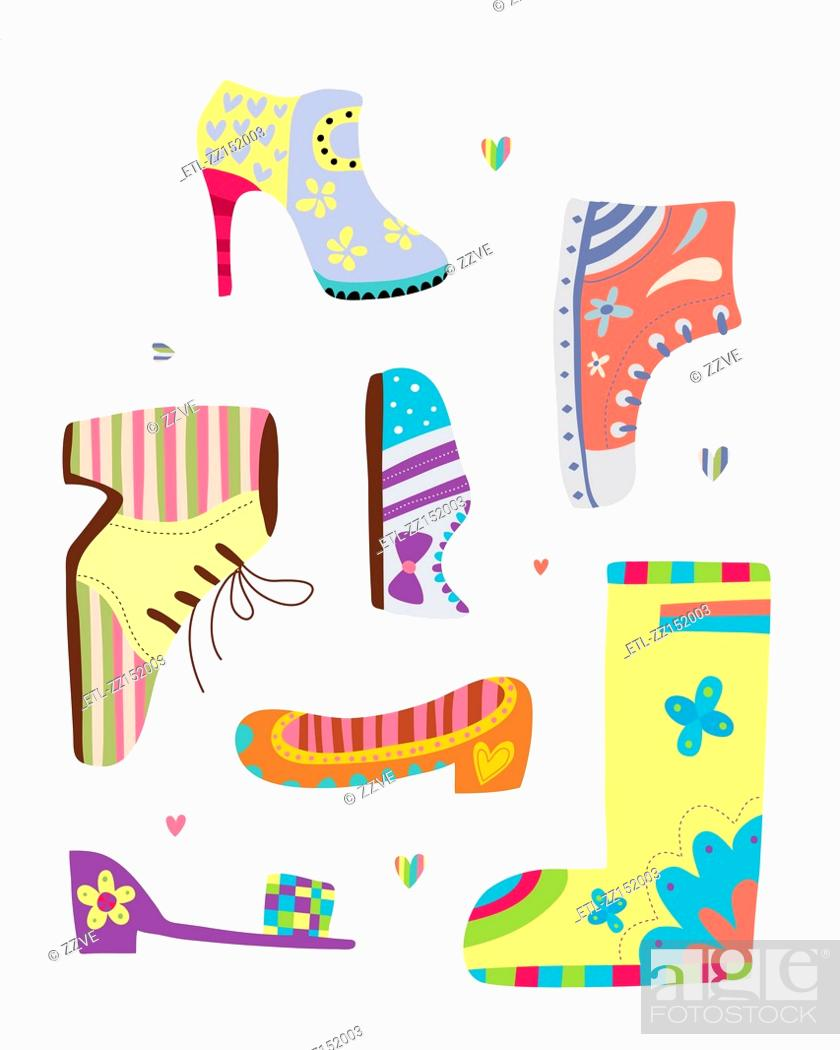 Stock Photo: various kinds of shoes.