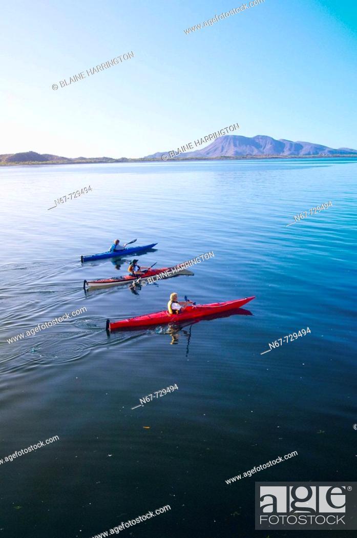 Stock Photo: Sea kayaking, Bahia Amortajada, Isla San Jose, Sea of Cortes, Baja California Sur, Mexico.