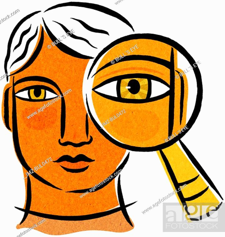 Stock Photo: A person with a magnifying glass in front of one eye.