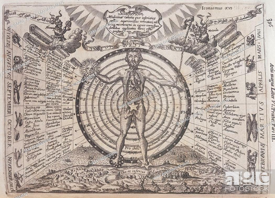 Stock Photo: Influence of the planets and zodiacal fugures on the organs of the body, the Macrocosm on Man, the Microcosm  17th century.