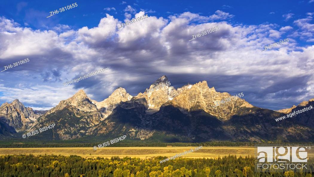 Stock Photo: Clearing storm over the Teton Range, Grand Teton National Park, Wyoming USA.