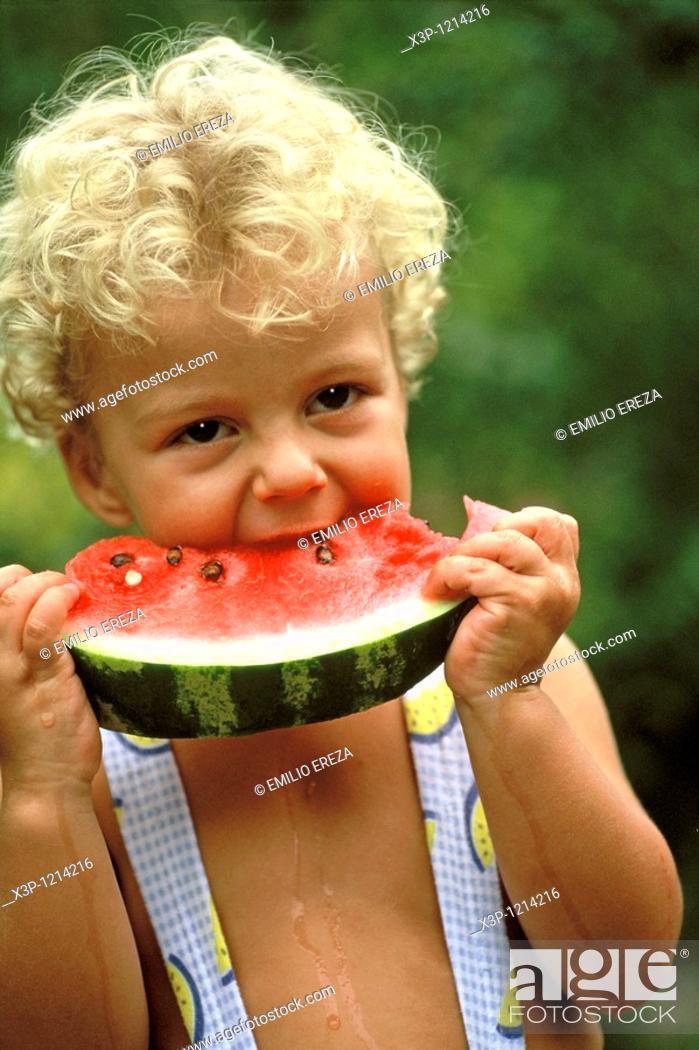 Stock Photo: Eating watermelon.