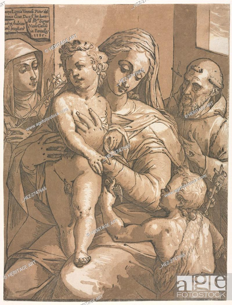 Stock Photo: Virgin and Child with St. John, St. Catherine of Siena and St. Francis, 1585. Creator: Andrea Andreani (Italian, about 1558-1610).