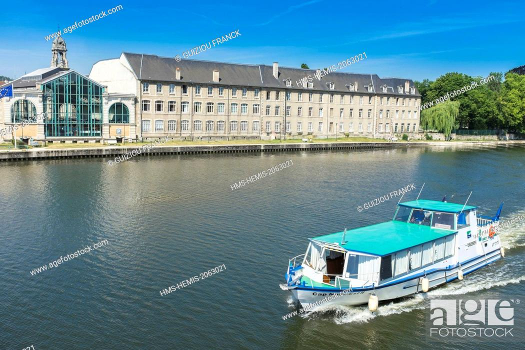 Stock Photo: France, Meurthe-et-Moselle, Pont-a-Mousson, the banks of the Moselle river, the market and Helene Bardot secondary school.