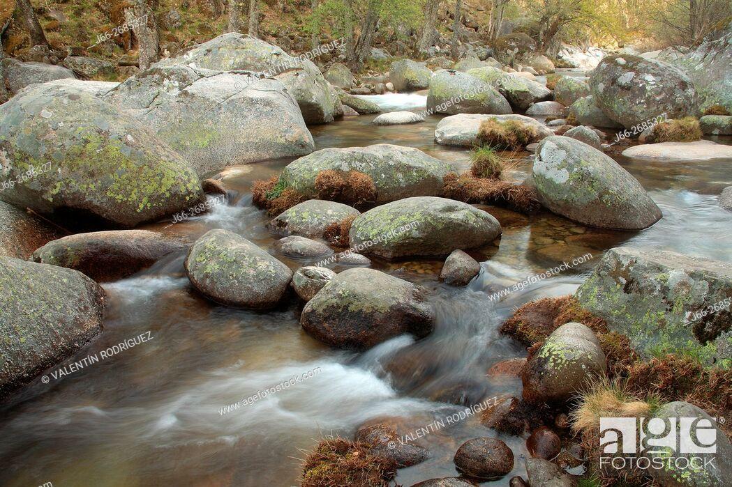 Stock Photo: Landscape of Los Pilones in the Garganta de los Infiernos. Jerte valley. Cáceres.