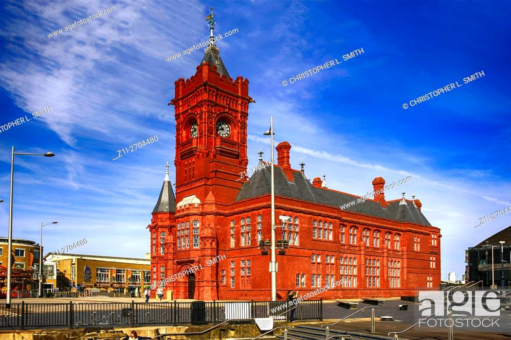 Stock Photo: The Pierhead building in Cardiff City Wales.