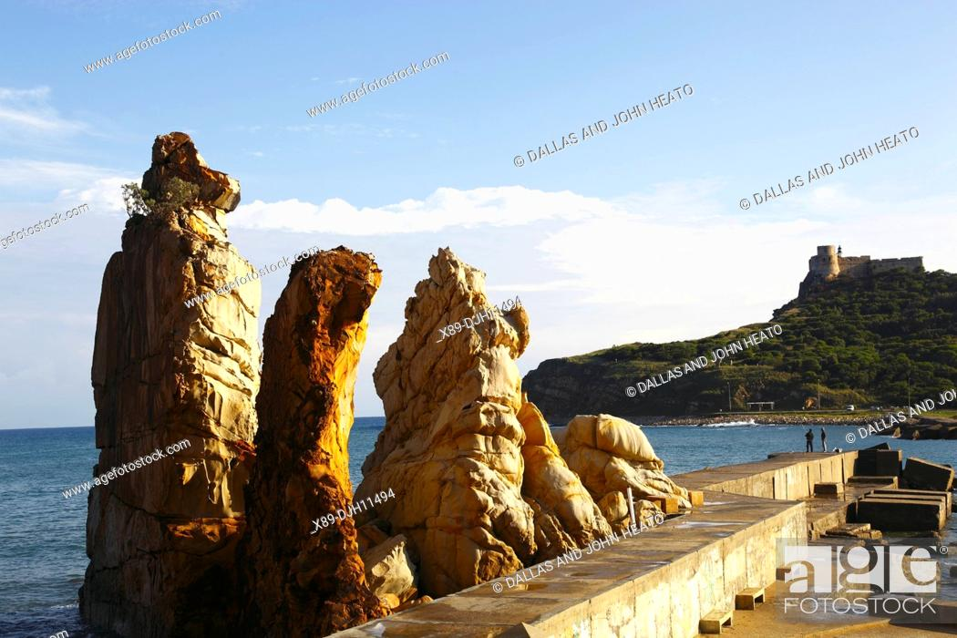 Stock Photo: Africa, Tunisia, Tabarka, The Needles, Les Aiguilles, Genoese Fort in the Background.
