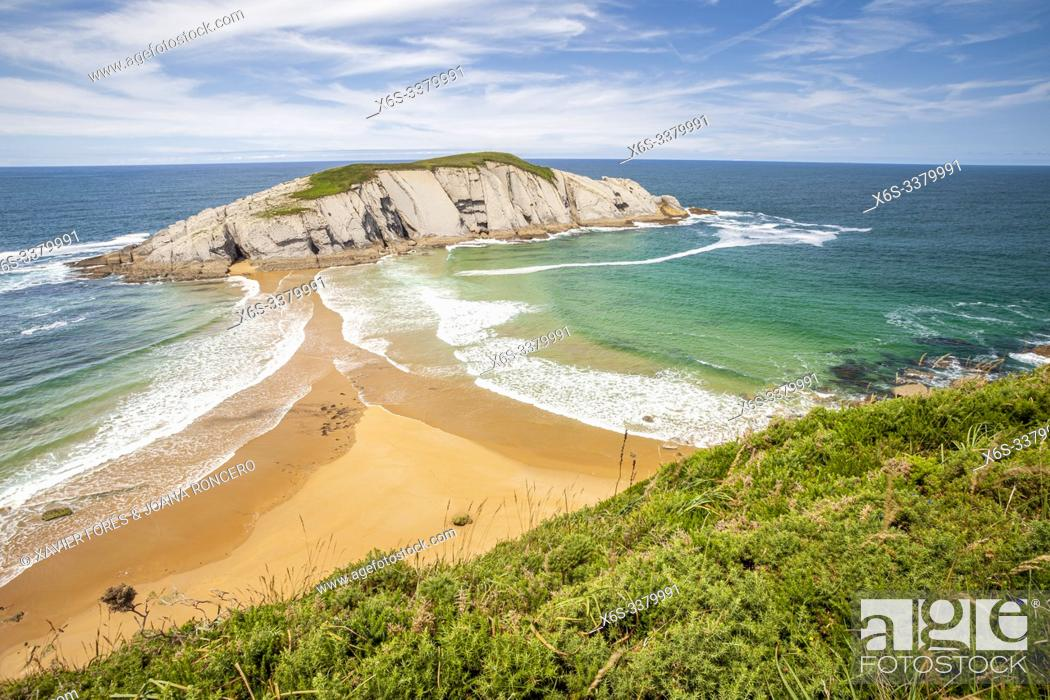 Stock Photo: Covachos beach and Castro Island, Liencres, Cantabria, Spain.