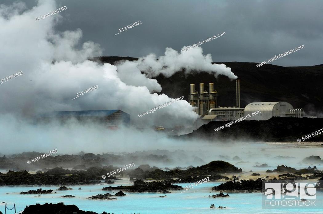 Stock Photo: Iceland, Near Reykjavik, blue Lagoon, geothermal power station, thermal baths, spa.