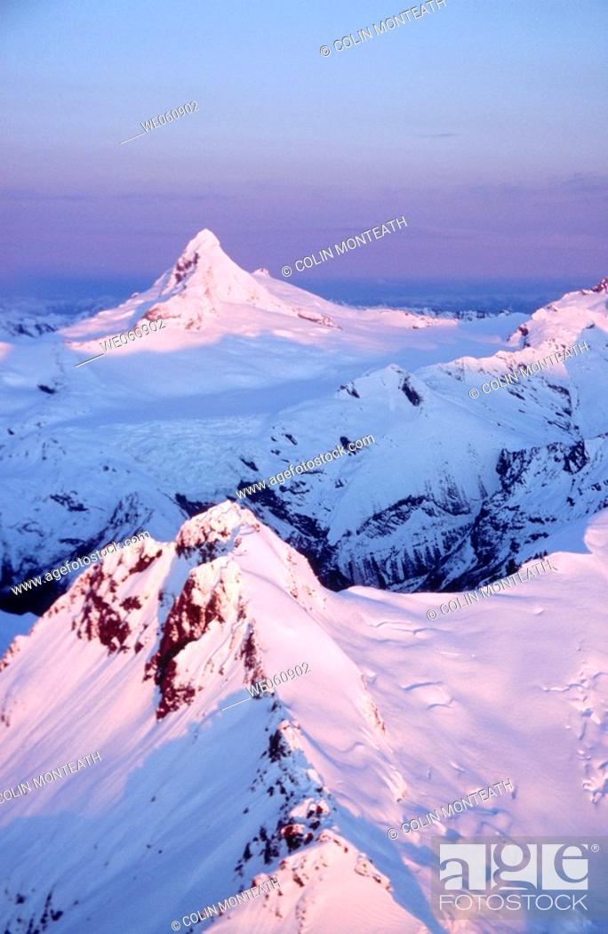 Stock Photo: Mount Aspiring at sunset. Aerial view. Winter. Mount Aspiring National Park. New Zealand.