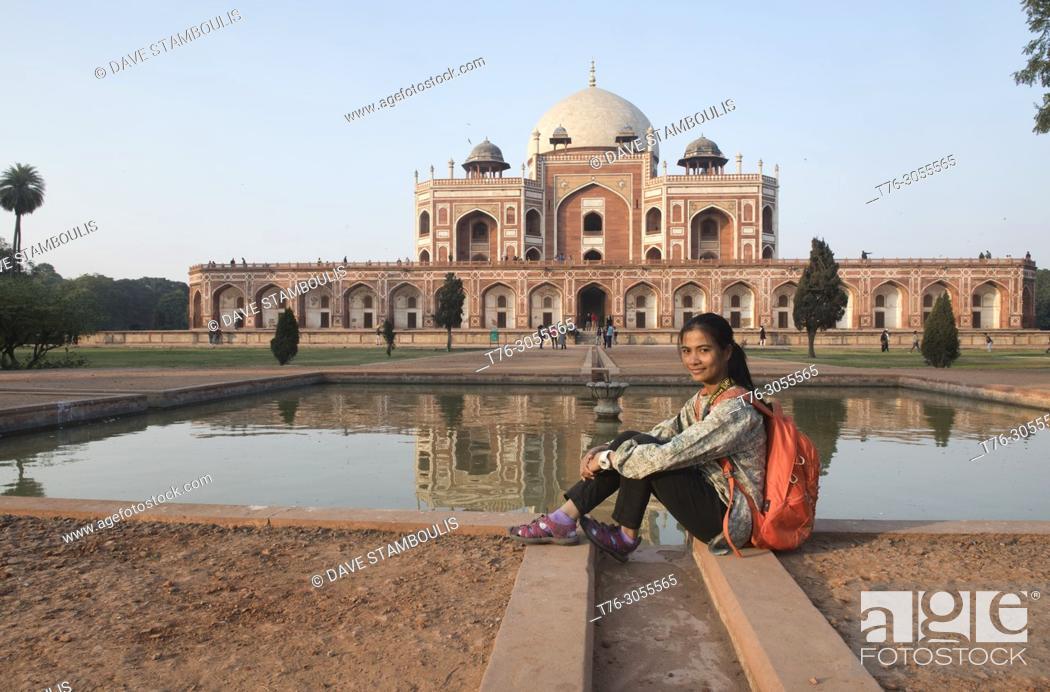 Stock Photo: Reflection pool at Humayum's Tomb, a UNESCO World Heritage Site, Delhi, India.