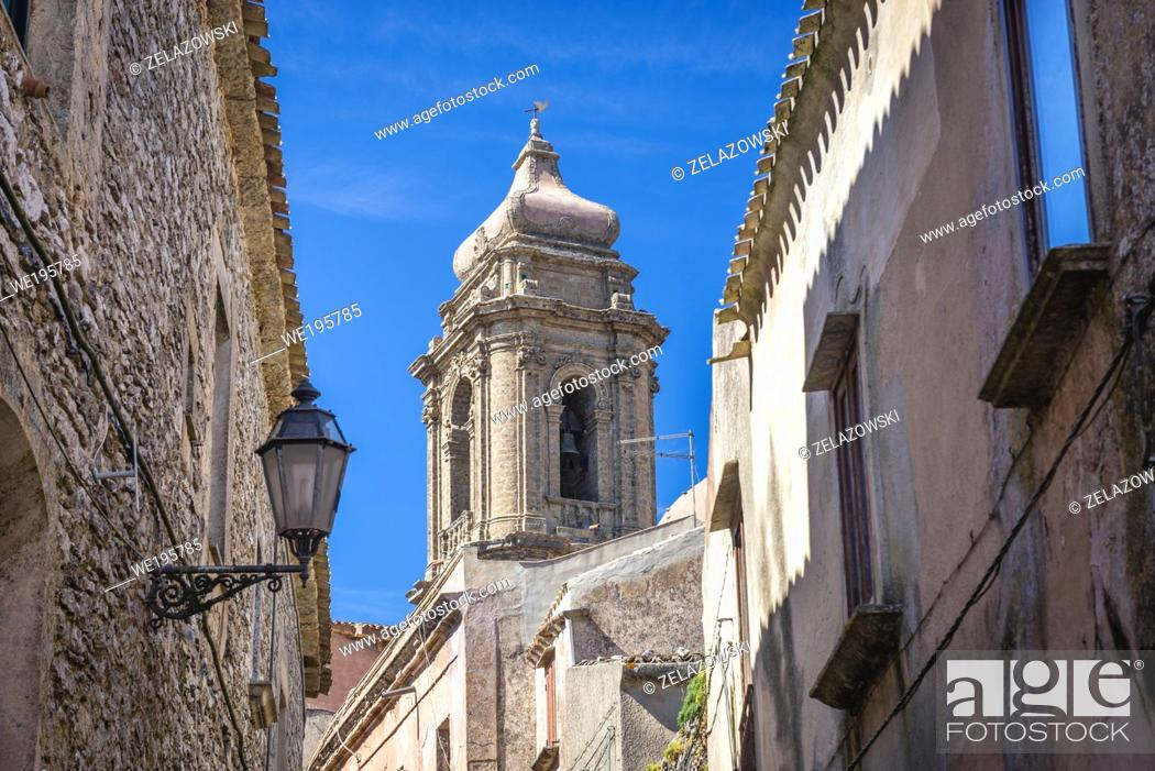 Stock Photo: Tower of Erice historic town on a Mount Erice in the province of Trapani in Sicily, southern Italy.