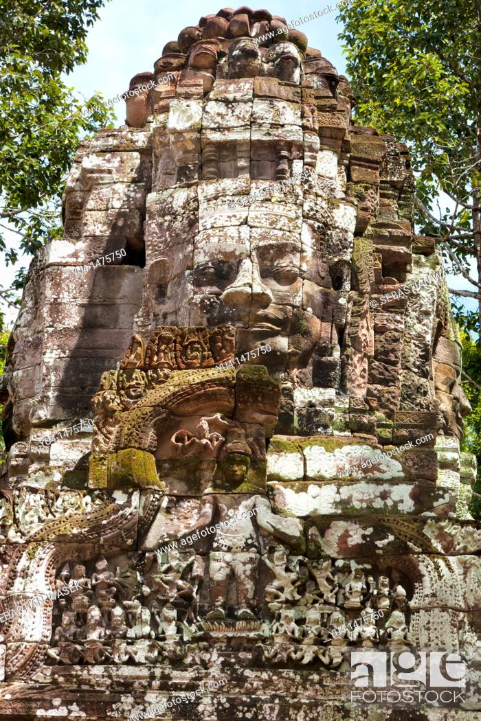 Stock Photo: Entrance gate to Ta Som built at the end of the 12th century for King Jayavarman VII, Angkor Wat complex, Siem Reap, Cambodia, Southeast Asia, Asia.