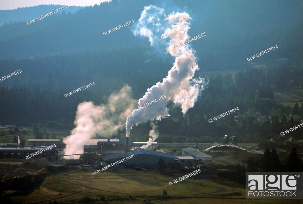 Stock Photo: Large commercial sawmill, Idaho, USA.