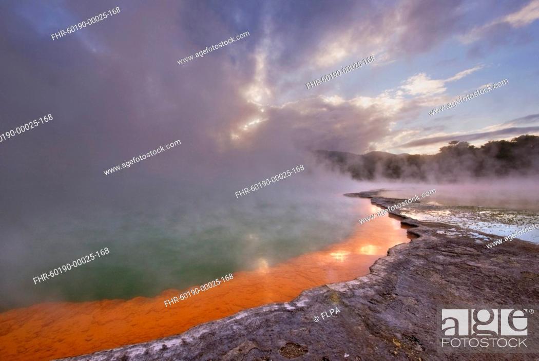 Stock Photo: Hotspring with arsenic and antimony sulfides deposits, Champagne pool, Waiotapu, Taupo Volcanic Zone, North Island, New Zealand.