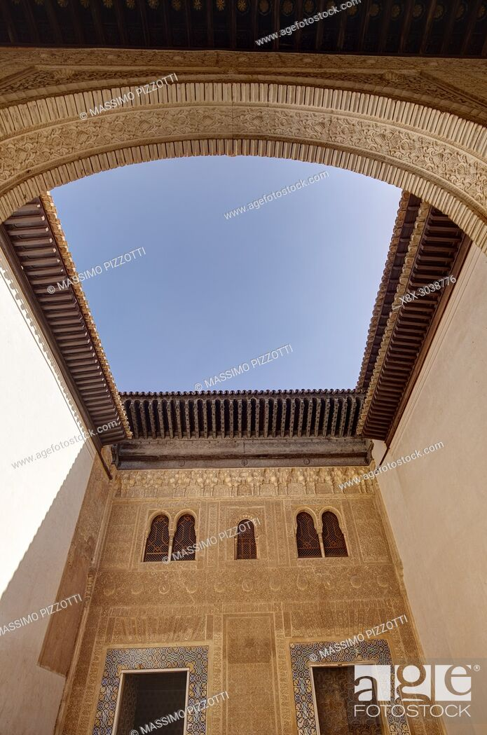 Stock Photo: Patio of Mexuar in the Nasrid palace, Alhambra complex, Granada, Andalusia, Spain.