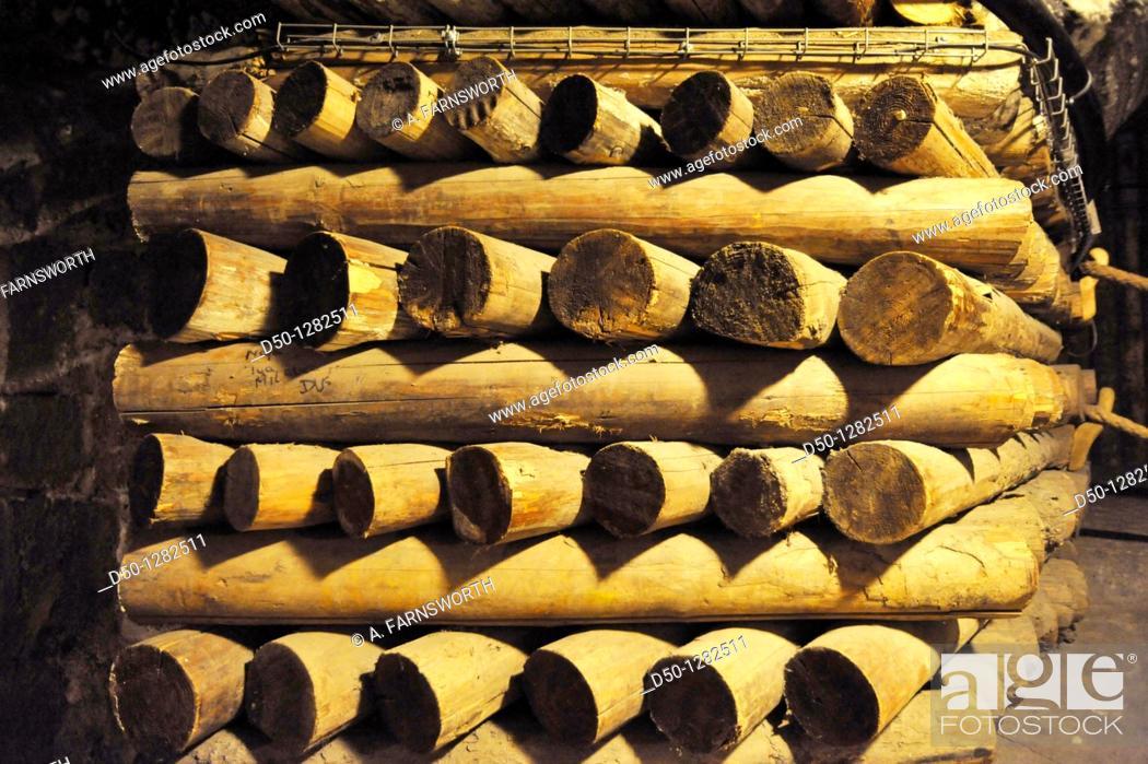 Stock Photo: Wooden supports in the Wieliczka Salt Mine, Krakow, Poland.