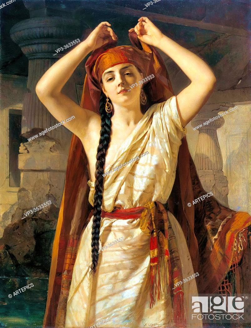 Imagen: Schlesinger Henri Guillaume - an Egyptian Girl Preparing for the Bath - French School - 19th and Early 20th Century.