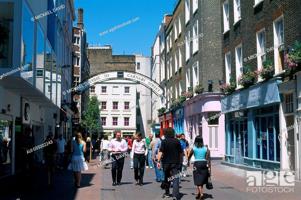 Stock Photo: England - London - Soho district - tourists in Carnaby Street.