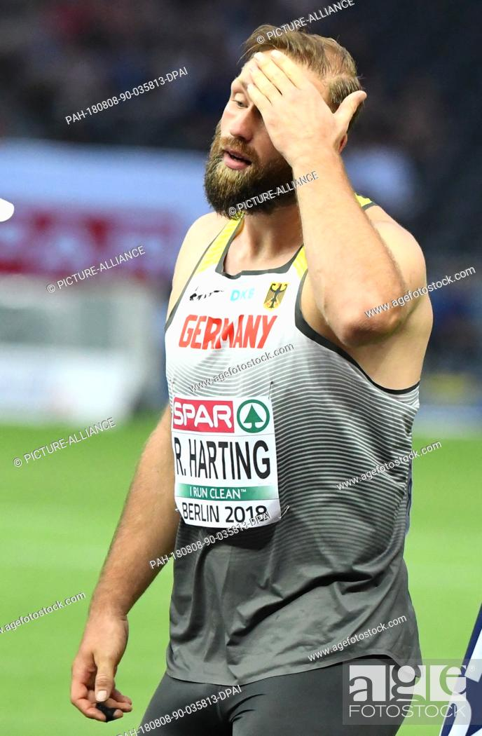 Stock Photo: 08.08.2018, Berlin: Athletics, European Championships in the Olympic Stadium: Discus throw, Men, Final, Robert Harting from Germany reacts.