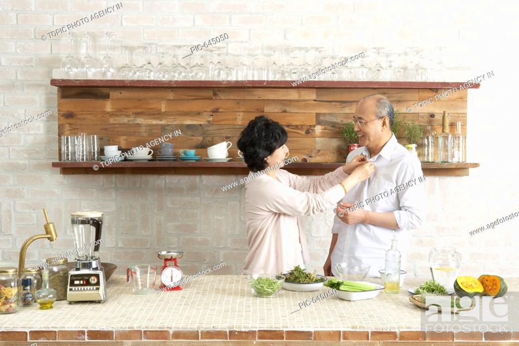 Stock Photo: Senior Couple at the Kitchen,Korea.
