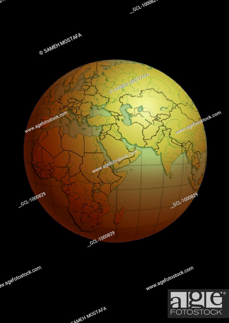 Stock Photo: North Africa and the Middle East on Globe.