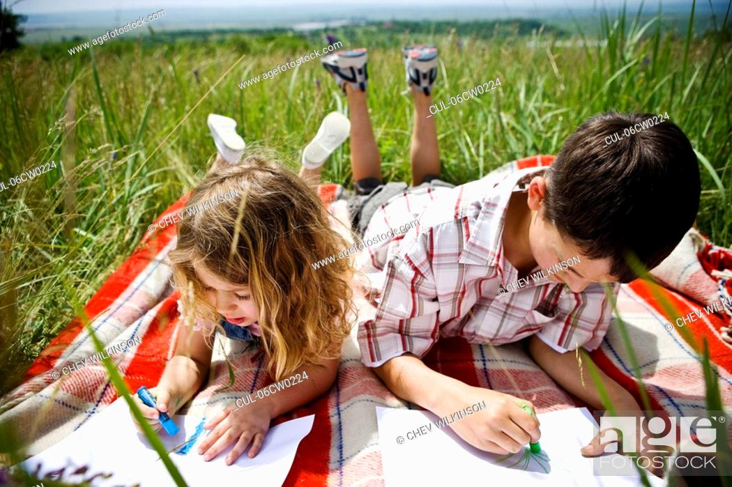 Stock Photo: Two children drawing.