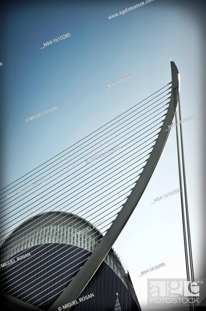 Stock Photo: Agora and Assut d'or bridge, Ciudad de las Artes y las Ciencias, Valencia.
