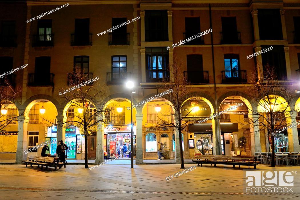 Stock Photo: Ávila, Spain - November 15, 2018: Portals of the Square of Santa Teresa de Jesus in the city of Avila.