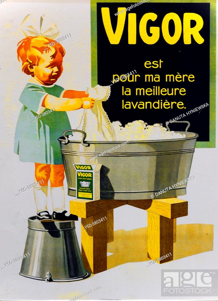 Imagen: Advertising vintage poster - Vigor Swiss washing powder, children are very often represented in advertising in the past. For household products.