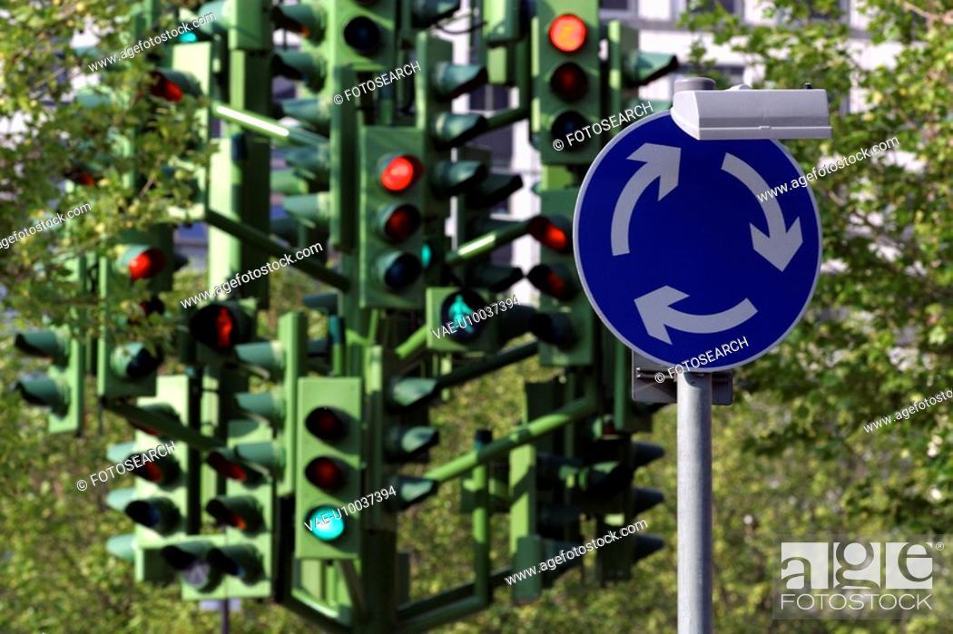 Stock Photo: Traffic Light Tree public art installation.