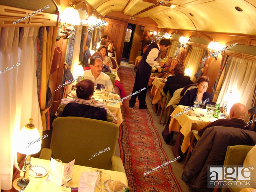 Stock Photo: Dinning Room Car Of The Transcantabrico Cruise Train.