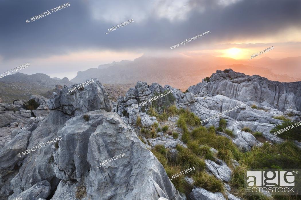 Stock Photo: View of Serra de Tramuntana, Escorca, Majorca, Balearic Islands, Spain.