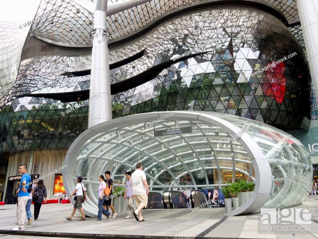 Stock Photo: Exterior view of modern shopping mall in Orchard Road in Singapore.
