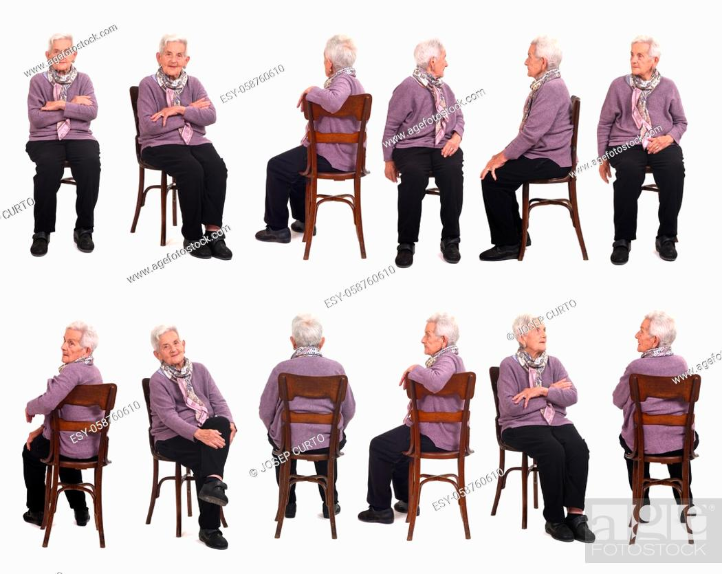 Photo de stock: large group of same senior woman sitting on white background.