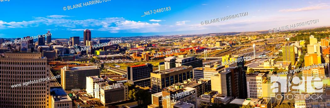 Stock Photo: Panoramic view, Central Business DIstrict with Nelson Mandela Bridge, Johannesburg, South Africa.