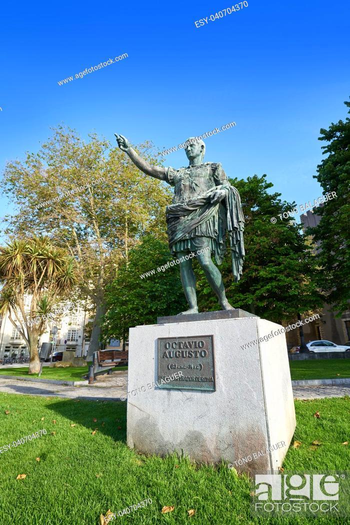 Stock Photo: Gijon Antonio Augusto roman statue in Asturias Spain.