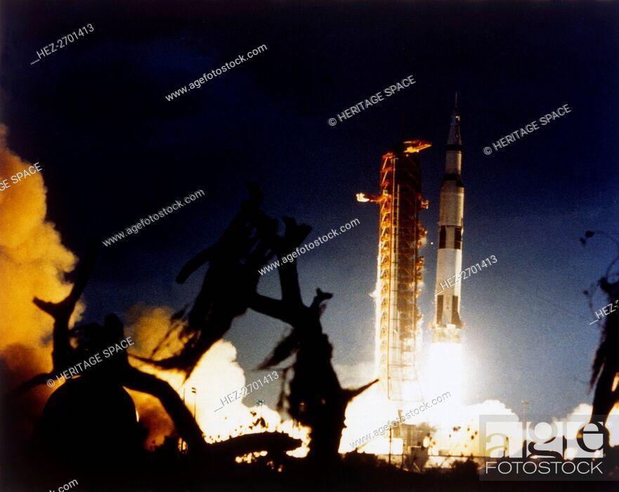 Stock Photo: Launch of Saturn V rocket, Kennedy Space Center, Merritt Island, Florida, USA, 7 December 1972. Creator: NASA.