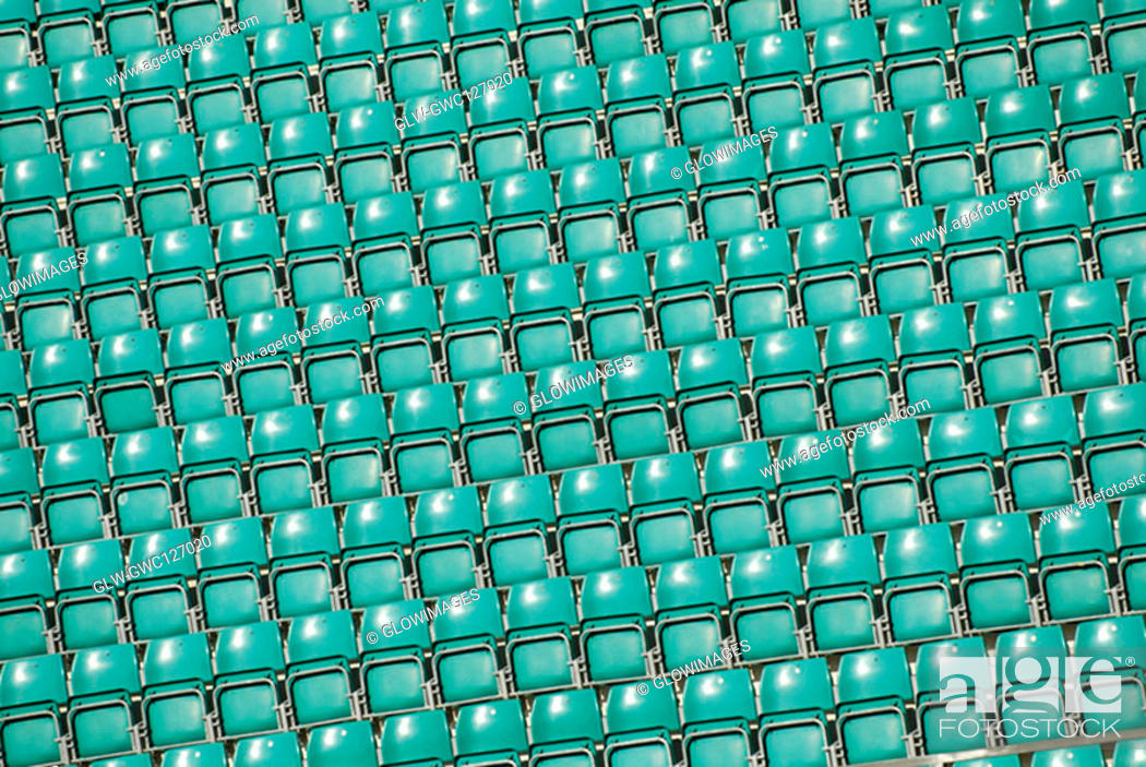 Stock Photo: Chairs in a stadium.