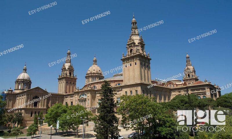 Stock Photo: Palau Nacional am Montjuic in Barcelona.
