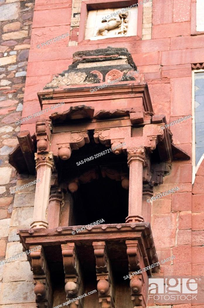 Stock Photo: Low angle view of a fort, Old Fort, Delhi, India.