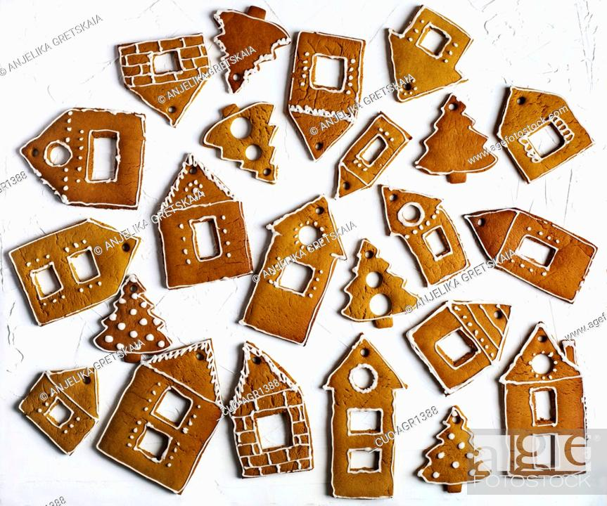 Christmas Gingerbread House Background.Christmas Gingerbread Houses Christmas Background With