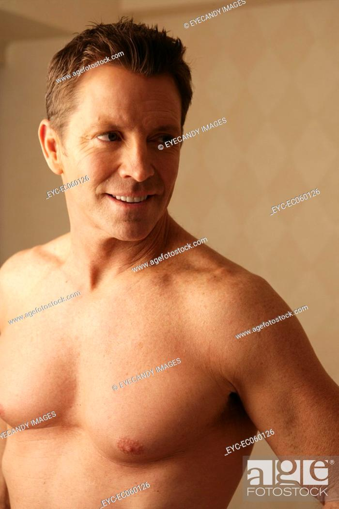 Stock Photo: Mature man close-up, bare chest.