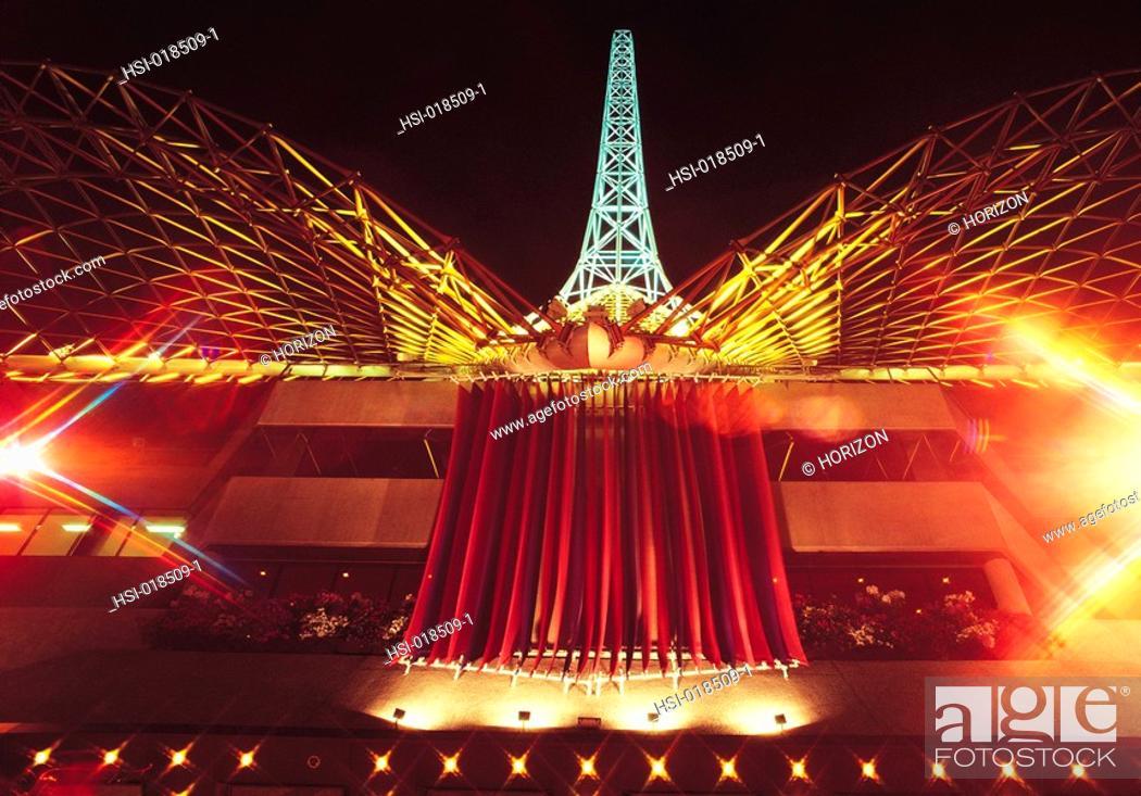 Stock Photo: Travel, Australia, Victoria, Melbourne, Night view of cultural centre,.